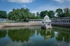 Hindu temple water tank Kanchipuram India. Ekambareshwarar temple Kanchipuram, Tamil Nadu, India, Asia royalty free stock photo