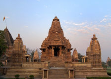 Hindu temple at Western site in India's Khajuraho. Royalty Free Stock Photos