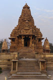 Hindu temple at Western site in India's Khajuraho isolated against blue skies. Stock Images