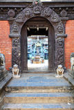 Hindu temple wooden carved door Stock Images