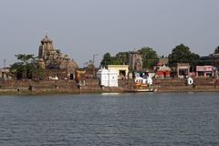 Hindu Temples Around Sacred Lake Stock Image