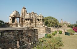 Hindu temples at Khajuraho,famous sacred place Royalty Free Stock Photo