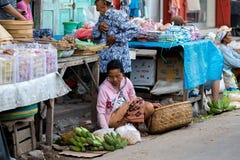 Hindu at the traditional street market, Bali Stock Photos