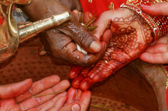 Hindu Wedding Ritual `Kanyadan`. Kanyadaan gift of a maiden ritual of handing over bride by her parents to the groom. Part of a Hindu traditional wedding ritual Stock Images