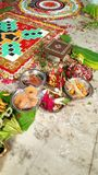 Hindu wedding yagna ceremony preparation Royalty Free Stock Photography