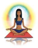 Hindu woman meditating. Vector illustration of a Hindu woman meditating with the symbol Om Royalty Free Stock Photo