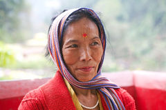 Hindu woman portrait. Hindu woman with bindi, the ornamental mark on the forehead. The red dot on the forehead is an auspicious sign marriage and guarantees the Royalty Free Stock Image