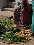 Hindu woman sells vegetables Royalty Free Stock Image