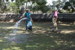 Hindu women working watering a garden. Traditional colorful costumes royalty free stock photo