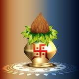 Hindu worship kalash. Beautiful hindu worship kalash  design Stock Images