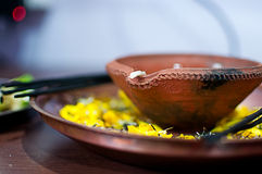 Hindu worship plate Stock Images