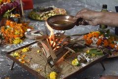 Hindu worship is a religious celebration stock photo