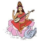 Hinduisk gudinna Saraswati. Royaltyfri Fotografi