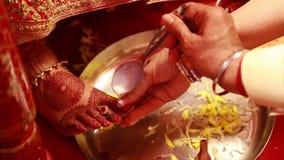 Hinduisk indisk ritual för bröllopceremoni lager videofilmer