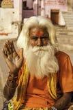 hinduisk monk varanasi Royaltyfri Bild