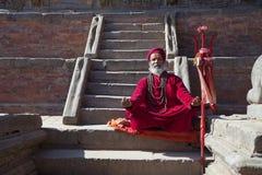 hinduisk nepal patan präst Arkivfoto