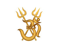 Hinduisk Om-symbol med Trident royaltyfri illustrationer