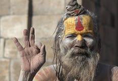 Hinduisk Sadhu stående, Katmandu, Nepal Fotografering för Bildbyråer