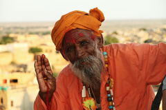 Hinduisk shadu i Jaisalmer Rajasthan Royaltyfri Bild