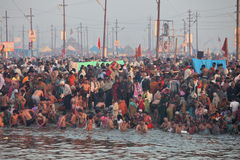 Hinduiska fantaster kommer till sammanflöde av Gangesen för heligt dopp under festivalen Kumbh Mela Royaltyfria Bilder