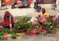 Hinduiska kvinnor i indisk gatamarknad Arkivfoto