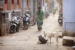 Hinduiska kvinnor på gatorna av den sakrala Varanasi gamla staden Royaltyfria Bilder