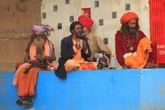 Hinduiska musiker i Varanasi Royaltyfri Foto