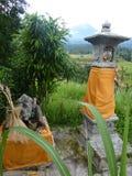 Hinduiska relikskrin för en bra skörd för de härliga risfälten av Jatiluwih, Bali, Indonesien Arkivfoto