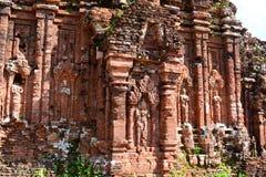hinduiskt tempel för detalj min son Quảng Nam Province vietnam Royaltyfria Bilder