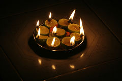 Hinduism. Oil lamps sit on a tray at a temple royalty free stock image