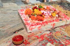 Hinduism flower offering Jagdish temple Udaipur India. Hinduism flower offering Jagdish temple in Udaipur India stock photo