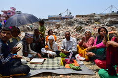 Hinduism funeral rites and ceremonies at collapsed building after earthquake disaster Royalty Free Stock Photography