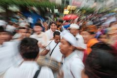 Hinduism Parade  in Malioboro. A Parade of Hinduism people before Nyepi in Malioboro Yogyakarta, Indonesia. One of the guy from parade look like enjoying himself Stock Image