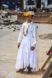 A Hinduism priest who in white robe , Dasain Festival , Kathmandu , Nepal stock photos