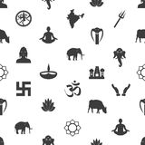 Hinduism religions symbols gray seamless pattern eps10 Royalty Free Stock Images