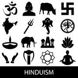 Hinduism religions symbols vector set of icons eps10 Royalty Free Stock Photography