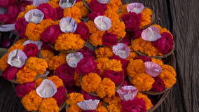 Hinduism sacred puja ritual flowers in Varanasi city, India stock video