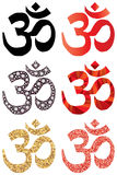 Hinduism symbol set. This illustration is drawing Hinduism symbol set in  white color background Royalty Free Stock Image