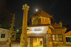 Hinduism Temple , India. Hinduism Temple at evening. Yelow  color. In Gokarna district ,  India. Moon royalty free stock photos
