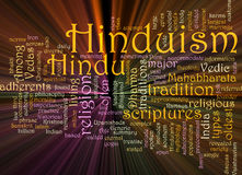 Hinduism word cloud glowing. Word cloud concept illustration of Hinduism religion glowing light effect vector illustration