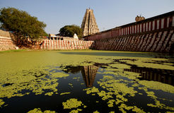Hinduist temple and water pool Royalty Free Stock Photography