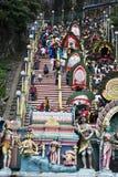 Hinduistische eifrige Anhänger an der Thaipusam Feier Stockfotos
