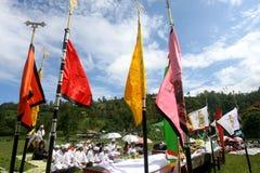 Hindus在Karanganyar,印度尼西亚庆祝Melasti 免版税库存照片