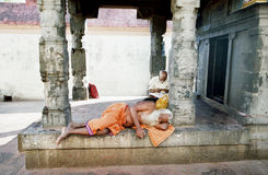 Hindus asleep in a temple Royalty Free Stock Photos