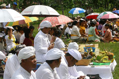 Hindus Celebrates Melasti in Karanganyar, Indonesia. Hindus perform prayer during melasti celebrations in karanganyar, Indonesia. Melasti ceremony held annually stock photo