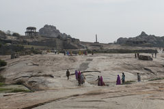 Hindus folkprocession Hampi Indien Royaltyfri Foto