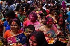 Hindus Holi在达卡,孟加拉国 免版税图库摄影
