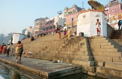 Hindus perform ritual puja at dawn,Benares,India Stock Photo