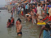 Hindus perform ritual puja at dawn in the Ganges Royalty Free Stock Image