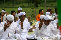 Hindus viert Melasti in Karanganyar, Indonesië Royalty-vrije Stock Fotografie
